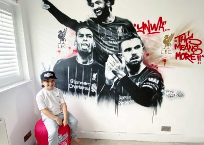 008-Child-sat-in-Liverpool-Bedroom-with-Football-Players-graffiti-wall-art