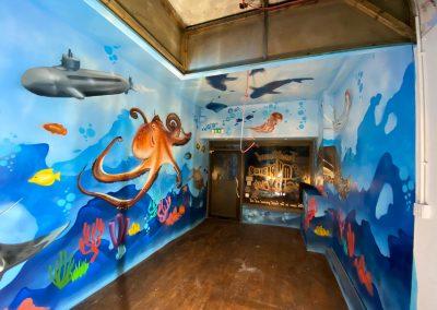 167-fish n chips-shark-submarine-underwater-street art-graffiti art-under the sea