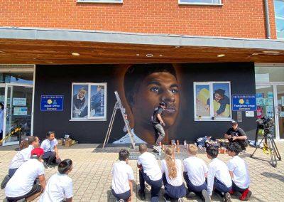 School-Children-Watch-Marcus-Rashford-Mural